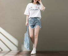 RETRO EMBROIDERY PRINTED FIVE-POINT SLEEVE T-SHIRT SHIRT