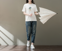 RETRO SHORT SLEEVE ROUND NECK EMBROIDERY T-SHIRT COTTON SHIRT