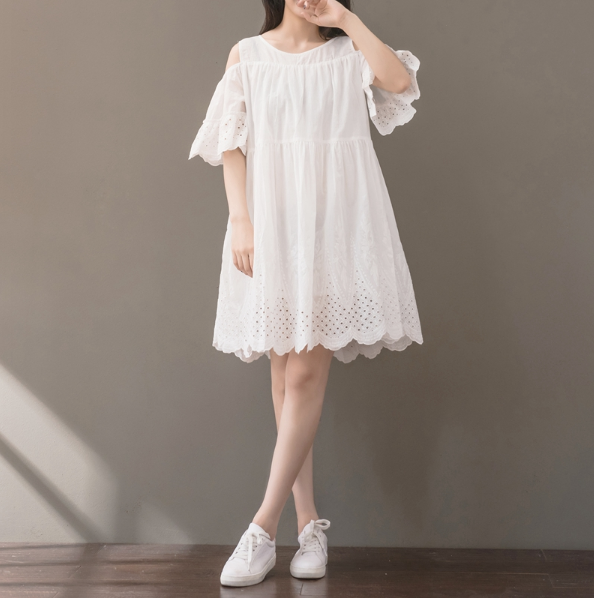 WHITE STRAPLESS SLEEVES EMBROIDERED SHORT-SLEEVED COTTON AND LINEN DRESS TIDE