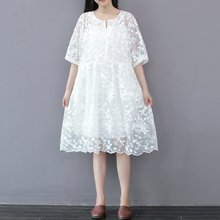 MESH EMBROIDERY EMBROIDERED FLOWER LACE DRESS IN LONG TIDE