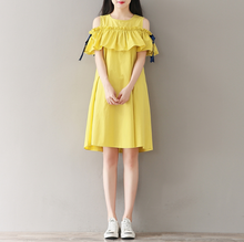 ART LOFTY LARGE YELLOW BEARD SLEEVES COTTON AND LINEN DRESS TIDE