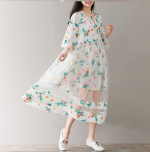 FLORAL TIE WITH FIVE POINTS HORN SLEEVES YARN DRESS