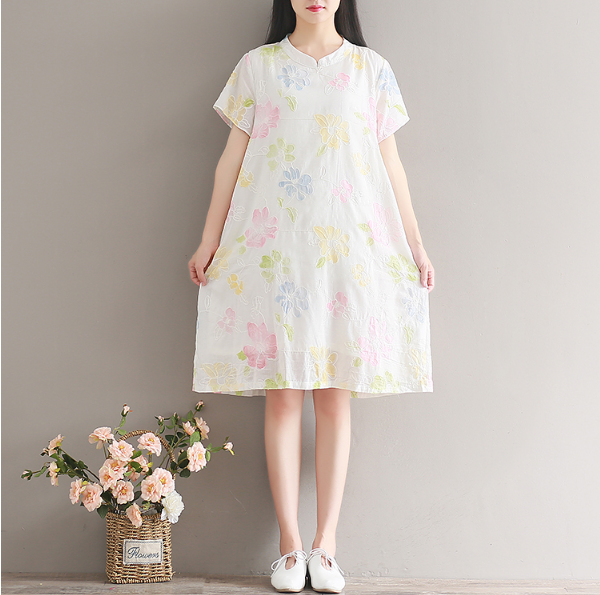 RETRO COTTON AND LINEN SHORT SLEEVE MODIFIED CHEONGSAM COTTON DRESS