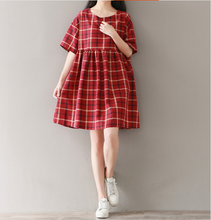 LARGE SIZE RED PLAID LINEN ROUND NECK DRESS TIDE