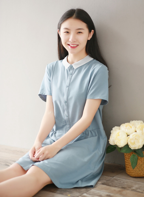 STITCHING CASUAL COTTON SHORT SLEEVE DRESS