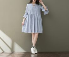 LACE BUCKLE SLEEVES STRIPED LARGE COTTON AND LINEN DRESS