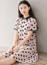 COTTON AND COTTON WAVE POINT PRINTED SHIRT COLLAR SHORT SLEEVE DRESS