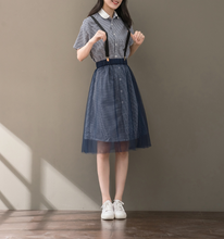 LATTICE LINEN DRESS + NET YARN STRAP SKIRT
