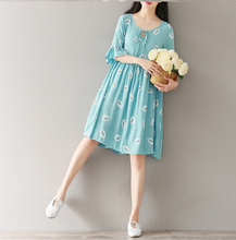 LEAVES PRINTED LOOSE COTTON AND LINEN DRESSES