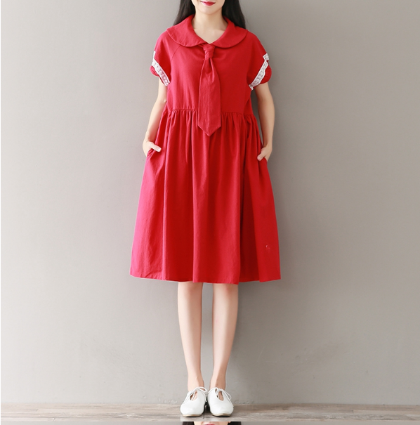 DOLL COLLAR COTTON AND LINEN RED STITCHING DRESS