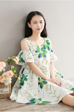 PRINTED COTTON CLOTH SLEEVE SLEEVE DRESS