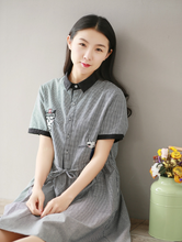 COTTON AND WHITE LATTICE EMBROIDERED LITTLE CAT SHORT SLEEVE SHIRT COLLAR DRESS