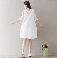 LETTER EMBROIDERED ROUND COLLAR A SOLE SHOULDER SLEEVE DRESS