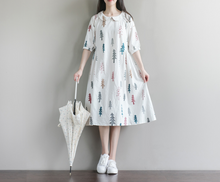 WILD FIVE-POINT SLEEVE WAS THIN COTTON CLOTH DRESS TIDE
