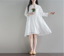 V NECKLACE JACQUARD WHITE FAIRY DRESS