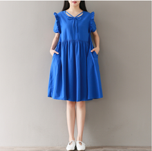 SHORT SLEEVE BLUE BOWKNOT COTTON ONE PIECE DRESS
