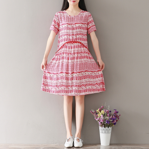 SHORT SLEEVE NATIONAL WIND RED COTTON DRESS