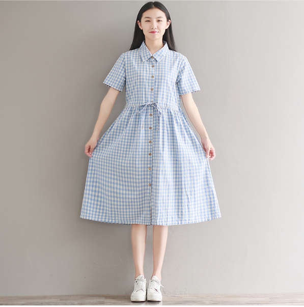 SHIRT COLLAR BLUE LATTICE SHORT SLEEVE WAIST COTTON LINEN DRESS