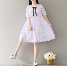 LOOSE LOOSE SLEEVE STRIPED MESH STITCHING COTTON AND HEMP DRESSES TIDE