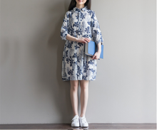 PRINTED COTTON AND LINEN FIVE-POINT SLEEVES SLEEVELESS DRESS TIDE