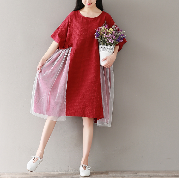 LOOSE LARGE SIZE RED NET YARN STITCHING COTTON AND LINEN DRESS