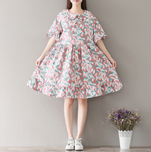 SHORT - SLEEVED LOTUS LEAF EDGE FLORAL COTTON AND LINEN DRESS IN THE LONG SECTION