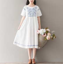 RETRO SHORT-SLEEVED COTTON AND LINEN DRESS SKIRT LONG TIDE