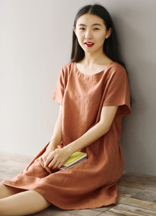 LOOSE LARGE SIZE COTTON AND LINEN SHORT SLEEVES DRESS LONG TIDE