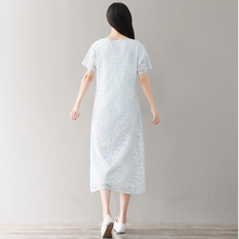 LOOSE BUCKLE SHORT SLEEVE IMPROVED CHEONGSAM LACE DRESS