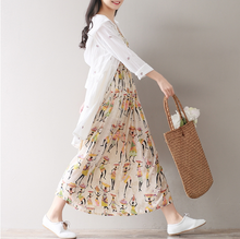 PRINTED VEST SKIRT COTTON SLEEVES DRESS LONG TIDE
