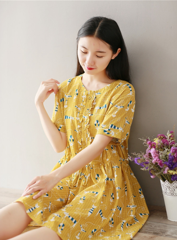LARGE SIZE COTTON AND LINEN PLAYFUL KITTEN PRINT SHORT-SLEEVED DRESS TIDE