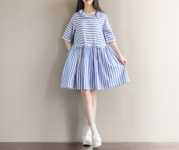 SHORT - SLEEVED NAVY BLUE STRIPED DRESS IN LONG SECTION