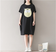 OWL O PRINTED COTTON KNIT DRESS SHORT SLEEVE ROUND COLLAR DRESS