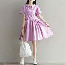 PURE COLOR BOTH SIDES WEAR SHORT-SLEEVED COTTON AND LINEN DRESS TIDE