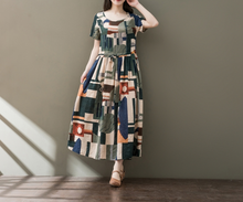 CASUAL WEAR SHORT SLEEVE ROUND NECK DRESS DRESS TIDE