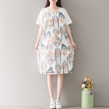 COTTON PRINTED T-SHIRT SKIRT SHORT SLEEVE DRESS TIDE