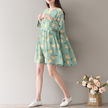 BOW KNOT SEVEN POINTS SLEEVED COLOR CHIFFON DRESS TIDE