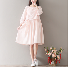 COTTON AND LINEN SWEET TEMPERAMENT BOW FIVE POINTS SLEEVE DRESS TIDE