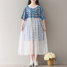 SHORT-SLEEVED ROUND NECKLACE PRINTING STITCHING NETWORK DRESS LONG TIDE