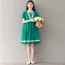 RETRO LOOSE LARGE SIZE GREEN COTTON / HEMP SHORT SLEEVE ROUND COLLAR DRESS