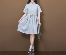 SOLID COLOR SHORT SLEEVE IN THE LONG PARAGRAPH LOOSE SHIRT TIE COTTON AND LINEN DRESS TIDE