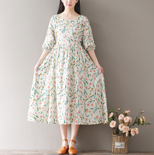 RETRO FIVE SLEEVES SLEEVES IN THE LONG DRESS LOOSE LOOSE DRESS
