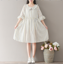 COURT WIND COTTON AND LINEN EAR DOLLS DRESS IN THE LONG SECTION