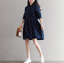 LOOSE LARGE SIZE WOMEN'S SHIRT COTTON AND LINEN LONG SLEEVE DRESS