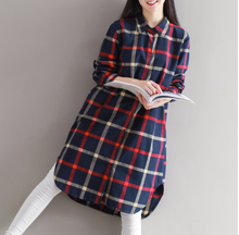 WOMEN 'S SHIRT SKIRT COAT LATTICE DRESS IN THE LONG SECTION