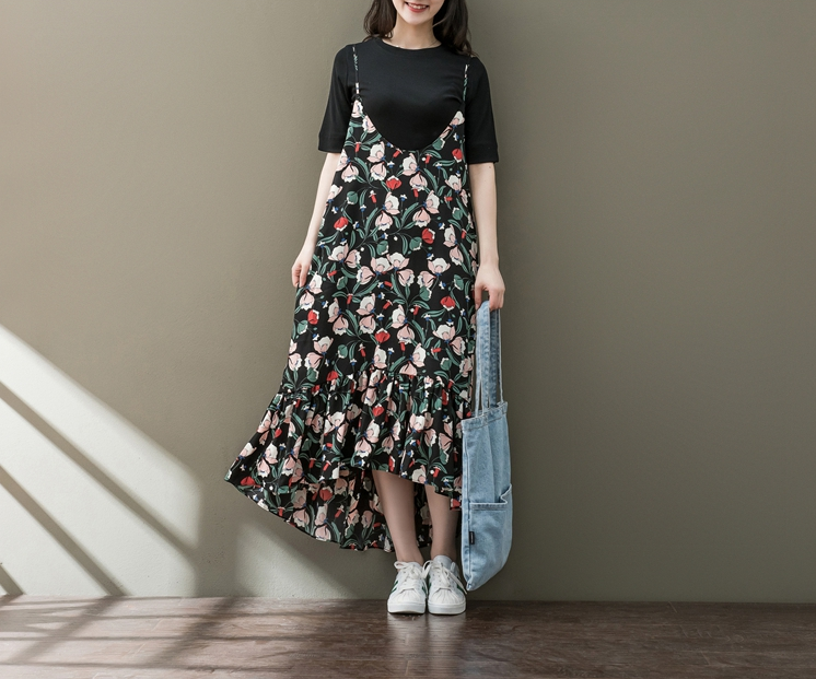RETRO HEM FLORAL FLOWERS FLORAL FLORAL DRESS