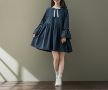 STRIPED STRIPED FLOWER SLEEVE BUNCHED COTTON ONE PIECE DRESS