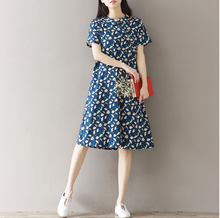 IMPROVED CHEONGSAM CHINESE FLORAL FLOWER SHORT SLEEVE LOOSE DRESS TIDE