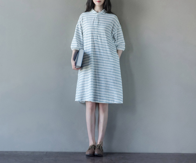 T-SHIRT SKIRT LOOSE LARGE YARDS FIVE-POINT SLEEVES KNITTED DRESS