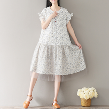 LOOSE DOLLS COLLAR FLORAL NET YARN STITCHING COTTON AND LINEN DRESS